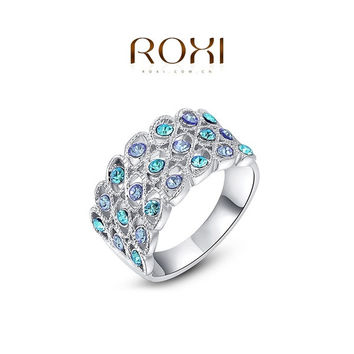 ROXI Platinum Plated Statement blue diamond Wedding Ring Fashion Silver color Jewelry For Women Party = 1946443268