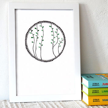 Branches drawing. Decorative wall art. Original illustration. Green leaves with black ink pen graphics. A4.