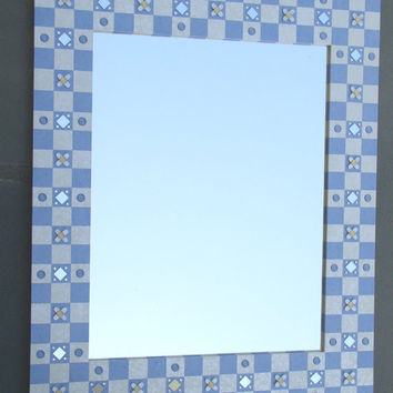 Hand Painted Mirror Frame Checerkboard  Blue and White