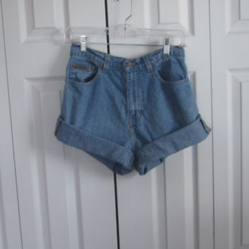 Cut Off High Waisted Denim Shorts Calvin Klein Cutoffs Jean Shorts Womens 8 High Waist Shorts 30 Hipster Grunge Upcycled