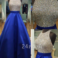 A-line Round Neck Sequin Backless Long Blue Prom Dress, Evening Dress
