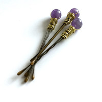 Gold Beaded Hair Pins, Genuine Amethyst Jewelry, Purple Stone Bobby Pins