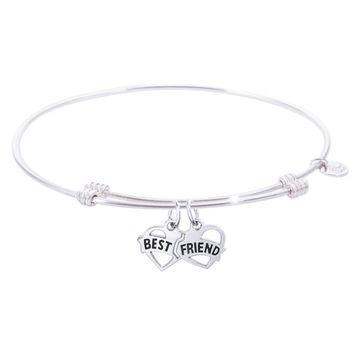 Sterling Silver Tranquil Bangle Bracelet With Best Friends Charm