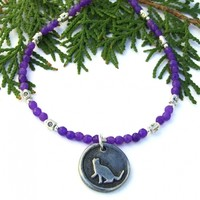 Kitty Cat Pendant Necklace, Purple Agate Gemstone Pewter Handmade Rescue Jewelry for Women