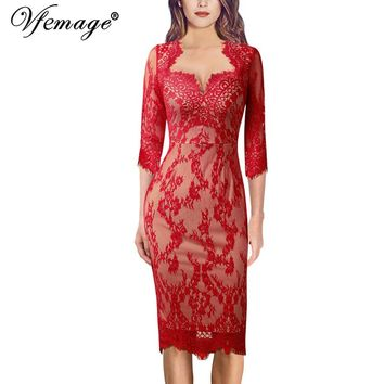 Vfemage Womens Sexy Elegant V Neck Floral Lace Cocktail Wedding Guest Party Slim Fitted Stretch Bodycon Pencil Sheath Dress 881