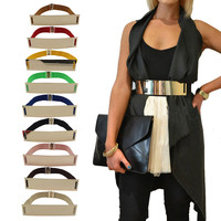 Hot Elastic Mirror Metal Waist Belt Metallic Bling Plate Wide Band for Women Ladies Accessories