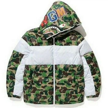 Bape Shark Winter Warm Men Fashion Zipper Cotton Cardigan Jacket Coat Windbreaker Hoodie