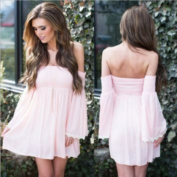 New winter long-sleeved dress sexy halter chest wrapped chiffon dress