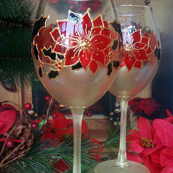 Set of 2 Hand Painted christmas unique wine toasting glasses Winter Poinsettia theme