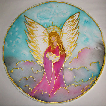 Guardian Angel Mandala  angel art, spiritual art, chlidren's art, baby shower, personalised art