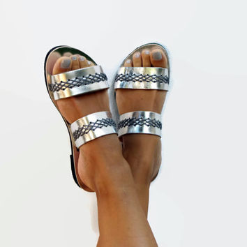 Silver leather sandals, Customizable. Urania 03 NEW