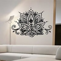 Lotus Flower Wall Decal Vinyl Art Home Decor Namaste Good Vibes Energy