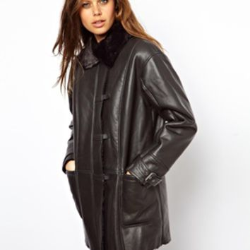 ASOS Shearling Coat With Buckle Front - Black