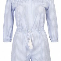 Light Blue Off Shoulder Drawstring Waist Stripe Romper Playsuit - Choies.com