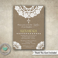 Doily Brown Baptism Invitation - Christening - First Communion - Invite