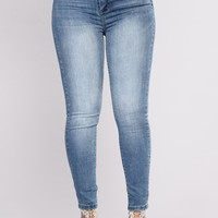 Call Me Beep Me Ankle Jeans - Medium Blue Wash