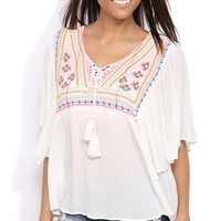 Flutter Sleeve High Low Peasant Top with Neon Embroidery