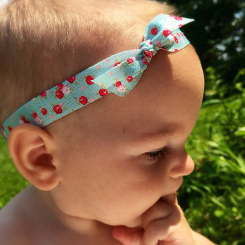 Tie knot baby headband, baby headband set, floral print, headband for newborns, toddlers and teen girls