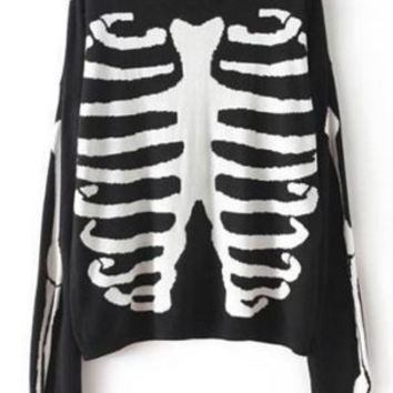 Skull Knitted Sweater Casual Women's Round Neck Skull Print Long Sleeve FREE SHIPPING !!!