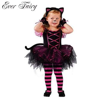 2018 Hot Halloween Costumes for baby girl tutu dress + Headdress Cheshire Cat girl Prom Animal Cosplay Apparel kids girl clothes