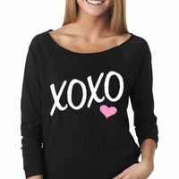 OFF SHOULDER, Valentines Shirt, XOXO, Valentines Day, Love Shirt, Womens Workout, Heart Shirt