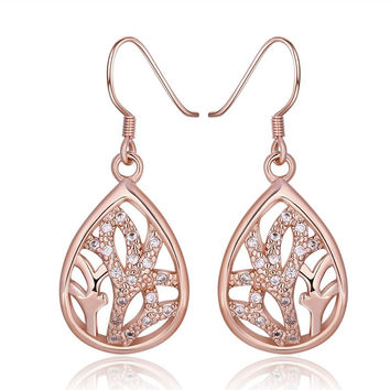 18K Rose Gold Classic Tree Branch Drop Down Earrings Made with Swarovksi Elements