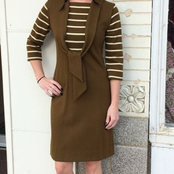 60s Mod Striped Dress Retro Green Olive Casual Vintage XS Jonathan Logan