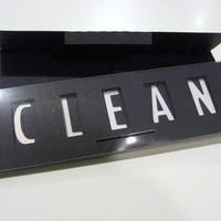 Clean Dirty Dishwasher Magnet Sign (black with bright white type)