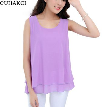 CUHAKCI Summer Female Tanks Tops Women False Two Layer Chiffon Sleeveless Fashion Vest Crop Loose Clothing Plus Size S139