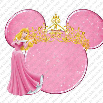 Aurora Sleeping Beauty Crowned Minnie Mouse Head Iron On Transfer
