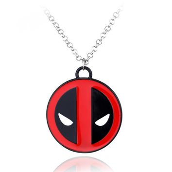 Deadpool Dead pool Taco  Necklace Red and Black Enamel Pendant Vintage Fashion for Women Silver Chain Jewelry Collares Cosplay AT_70_6