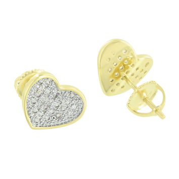 Heart Earrings 14k Gold Finish Screw Back Lab Diamonds 9832c57f8b