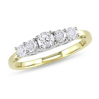 1/2 Carat White & Diamond Anniversary Ring in 14K White & Yellow Gold
