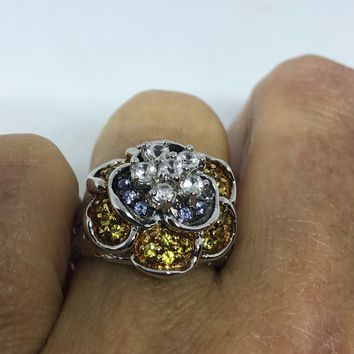 Vintage Handmade white sapphire and citrine rose 925 Sterling Silver gothic Ring