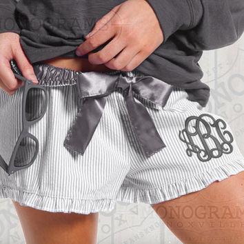 Grey Monogrammed Seersucker Ruffle Pajama Shorts Bitty Boxers - Font shown INTERLOCKING in Grey