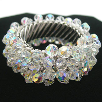 Vintage Crystal Expansion Bracelet, Faceted Sparkling AB Crystal Beads, Cha-cha Jewelry, Japan, 1960s Era, Gift for Her, Minty Clean