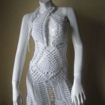 Crochet dress, WHITE, Monokini halter dress, beach cover up, resort wear, party, crochet overlay dress cotton/linen