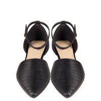 Leather Slit Ankle Strap Flats - Black - 10