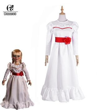 Cool ROLECOS Halloween Women Costume Doll Annabelle Cosplay Costume Renaissance Medieval Dress The Conjuring Cosplay Horror FilmAT_93_12