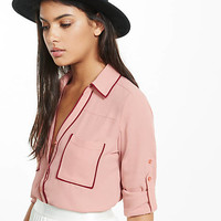 Slim Fit Contrast Piping Portofino Shirt from EXPRESS