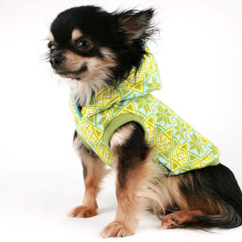 Dog Clothes green tribal print dog hoodie sweater all sizes! Boston, pug, bulldog