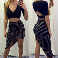 Twisted Striped Asymmetric Skirt - FINAL SALE