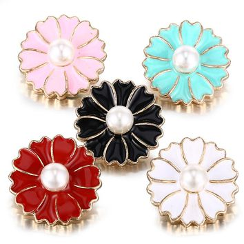 10pcs/lot New Gold Snap Jewelry Oil Driping Flower Snap Buttons for 18MM Snap Bracelet Bangles DIY