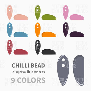 Chilli Bead Clip Art. Bead Vector Graphic, Vector illustration of beads, Preciosa Chilli beads