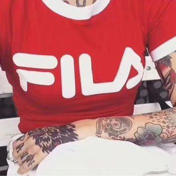 DCCKJ1A FILA Stylish Women Letter Print Round Collar T-Shirt  Cropped Top Red I