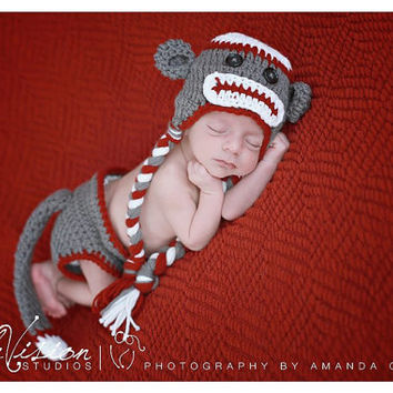 Baby boy Sock Monkey hat, diaper cover and tail. Newborn baby boy photo prop. Grey and Red Sock Monkey beanie, sock monkey diaper cover.
