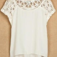 Lace Stitching Short Sleevees Chiffon Shirts for Summer