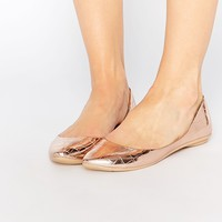 Lost Ink Bea Rose Gold Textured Ballerina Flat Shoes