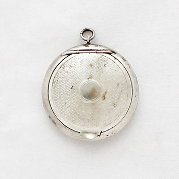 Antique French Locket / 1920s Pill Box Medaillon / Powder Compact Pendant