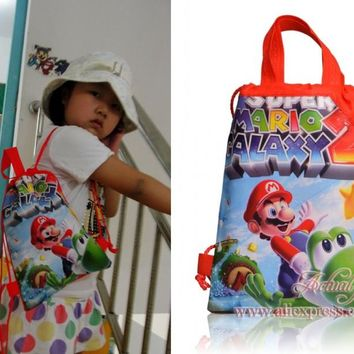 1PCS Super Mario Children Drawstring Backpacks School Shopping Bags 29*22CM Non Woven Fabrics Kids Xmas Party Gift